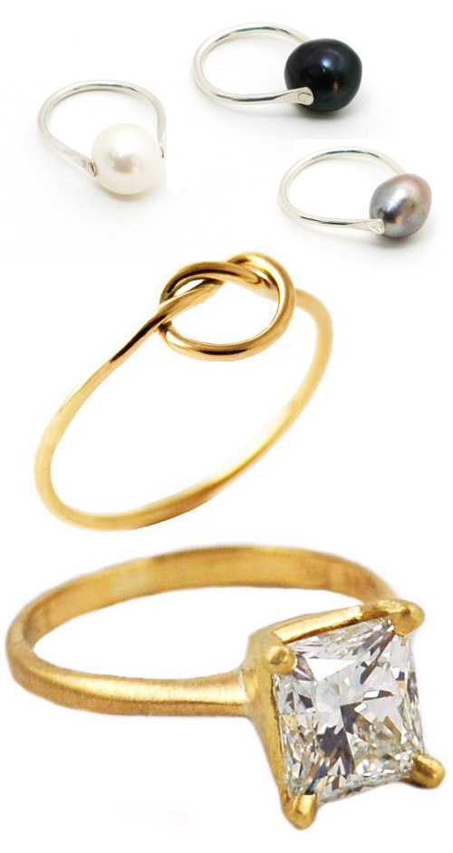 alternative engagement and wedding rings - pearl, gold and diamond wedding rings