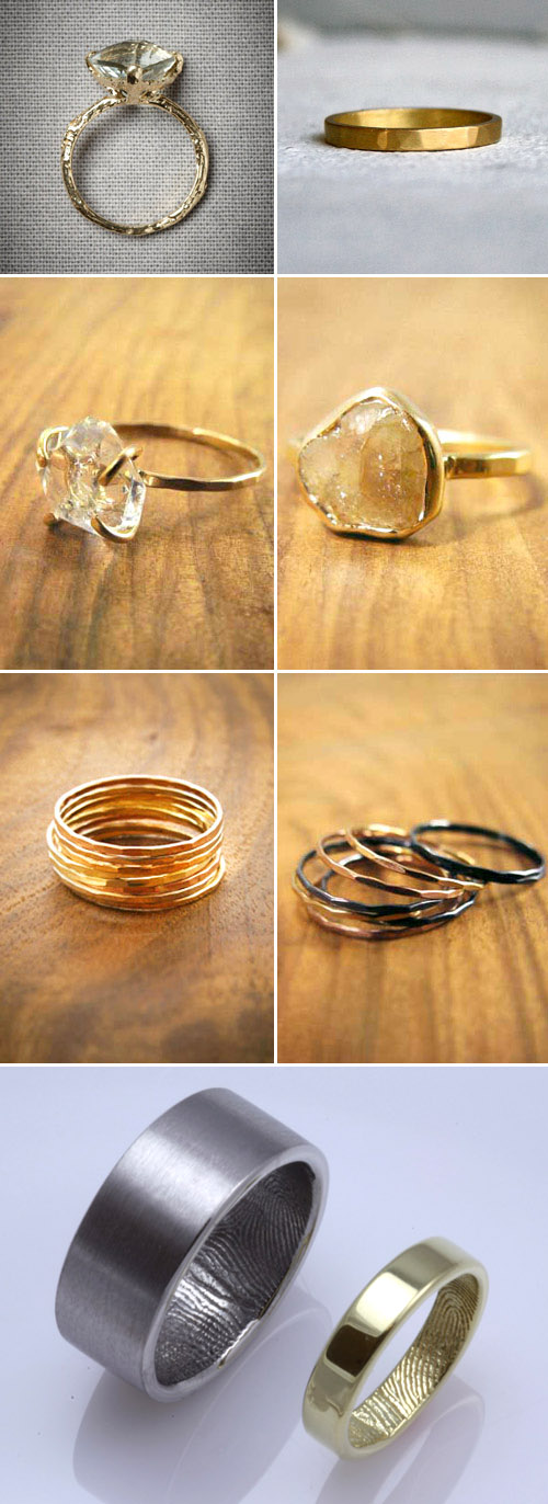 alternative engagement and wedding rings - rough cut diamonds and stackable wedding bands