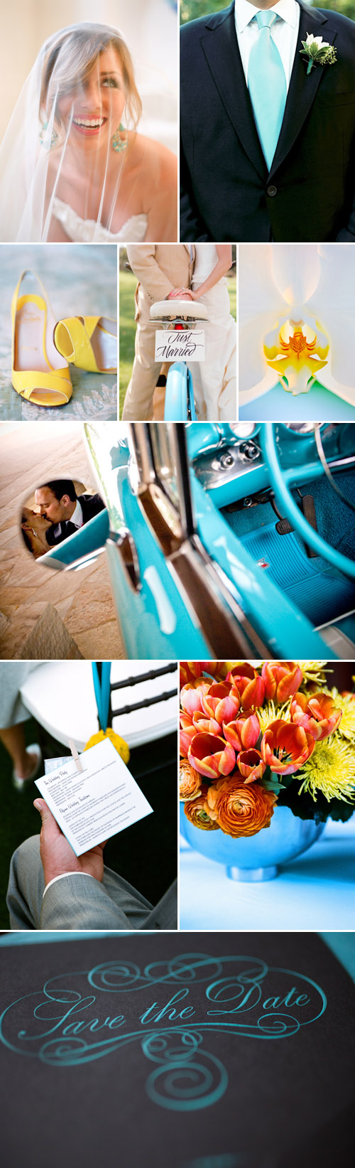 aqua blue and yellow wedding color palette inspiration board with photos from the junebug weddings image gallery