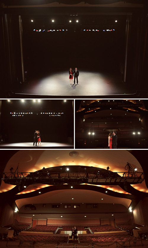 creative engagement photos at the Vogue Theatre in Vancouver, BC by Nordica Photography