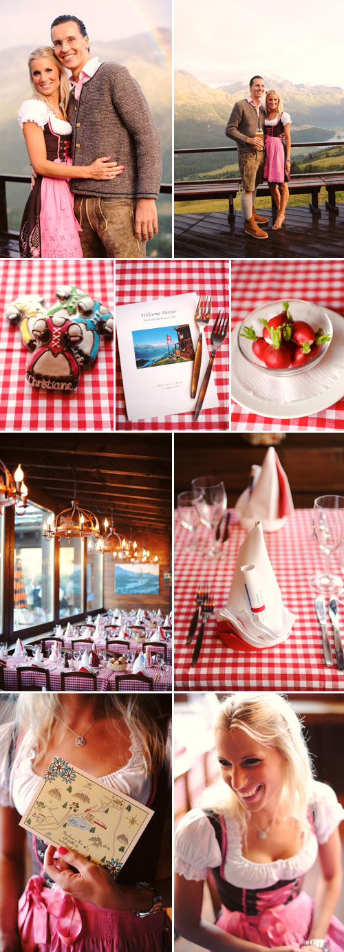 Bavarian wedding rehearsal dinner at Suvretta House in St. Moritz, Switzerland, red and white gingham decor