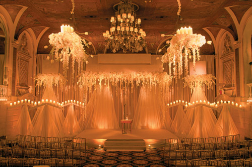 amazing wedding ceremony lighting design by Bentley Meeker at The plaza Hotel in New York from his Light X Design book
