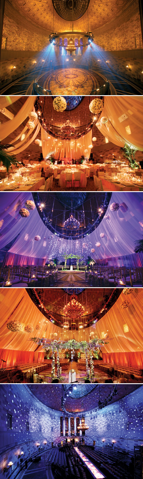 amazing wedding lighting design at Gotham Hall in New York by Bentley Meeker from his Light X Design book