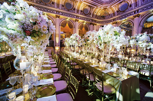 amazing wedding reception lighting design by Bentley Meeker at The plaza Hotel in New York from his Light X Design book