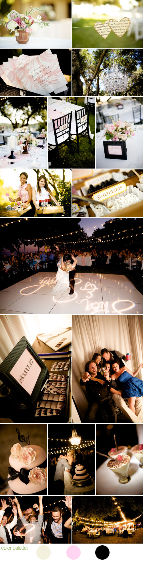 romantic Santa Barbara wedding style, ivory, black and ballet pink wedding color palette, photos by BB Photography