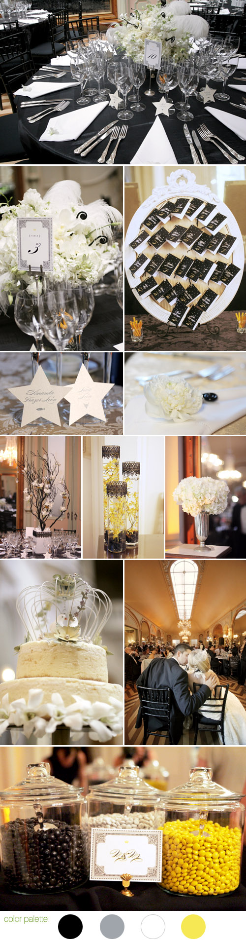 black, white, yellow and gray stylish California wedding style, photos by Michelle Walker Photography