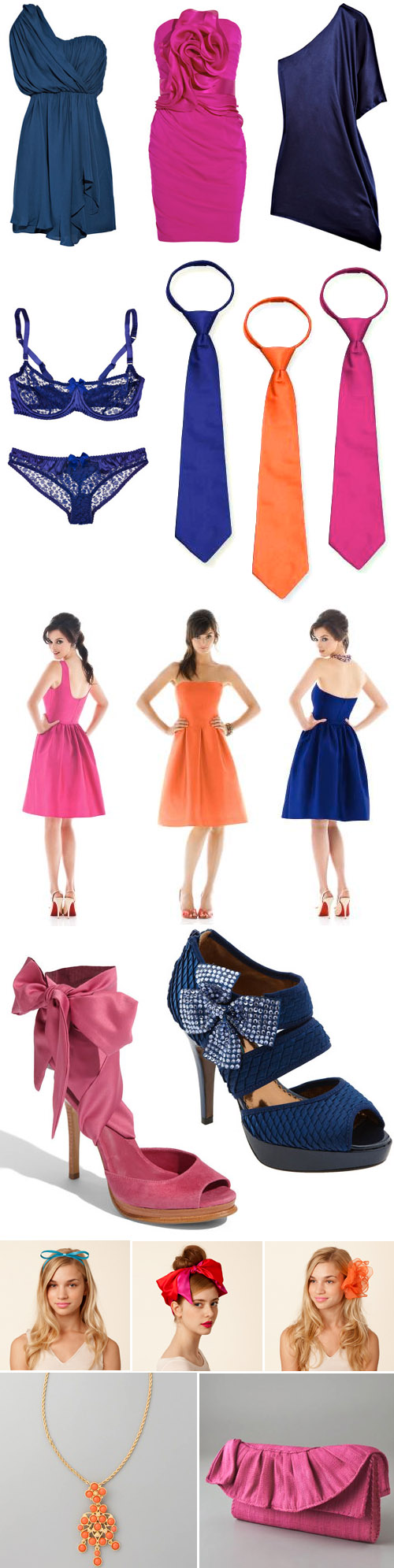 royal blue, hot pink and orange wedding fashion and accessory ideas