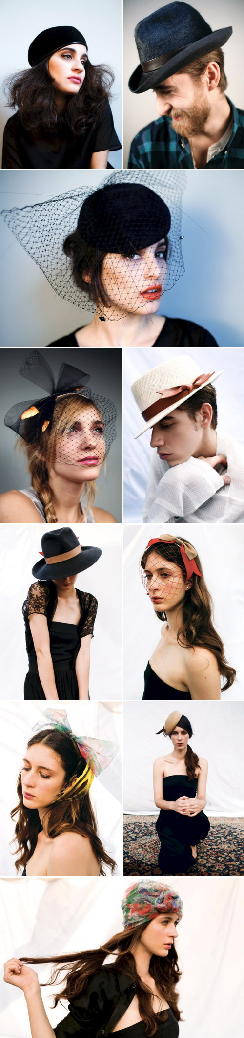 stylish handmade bridal hats, veils and hair accessories by Yestadt Millinery