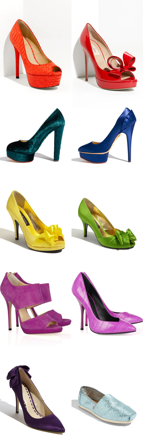 Bright And Colorful Wedding Shoes Yellow Pink Orange Blue Purple
