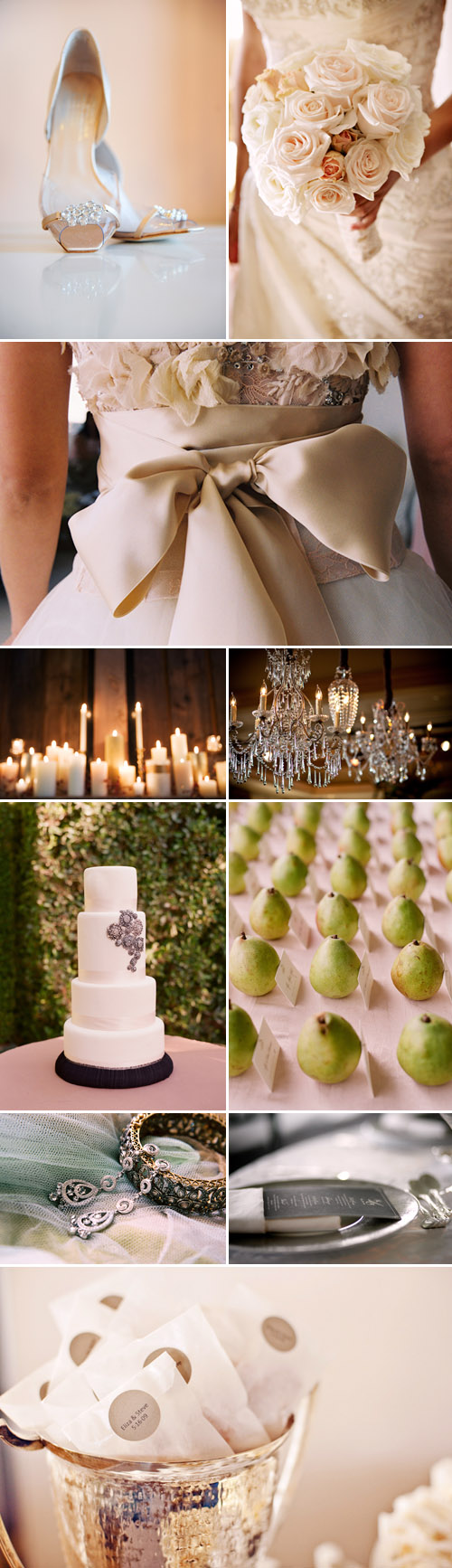 elegant ivory, champagne, silver and candle light wedding color palette inspiration board