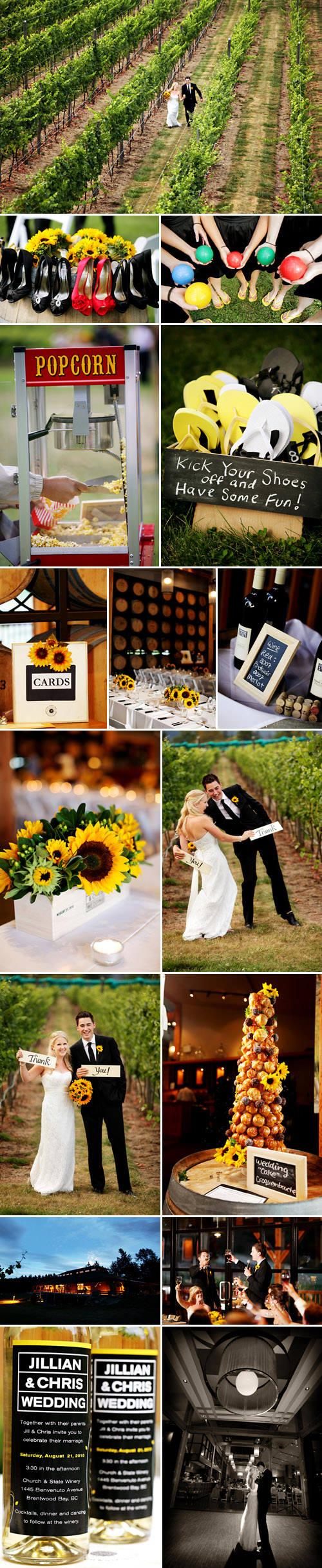 summer sunflower vineyard wedding at Church & State Winery in Brentwood Bay, BC, photos by Chris + Lynn