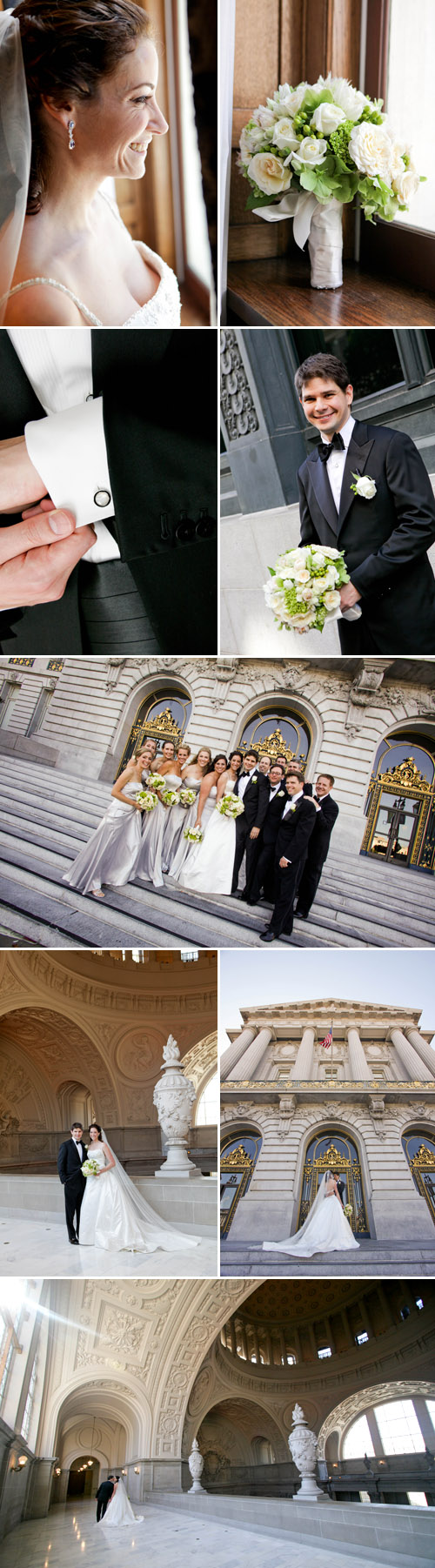 classic and elegant black tie wedding at San Francisco City Hall, ivory, silver, peach and sage green Art Deco wedding decor, photos by Michelle Walker Photography