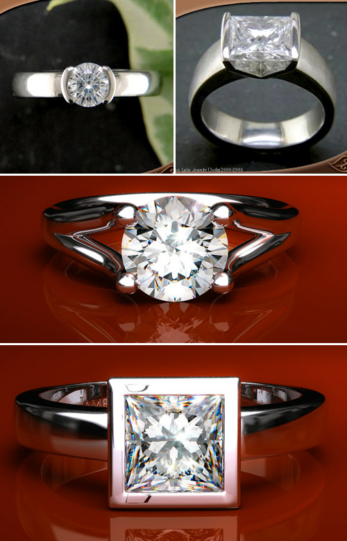 classic modern diamond engagement rings, tension set diamond rings
