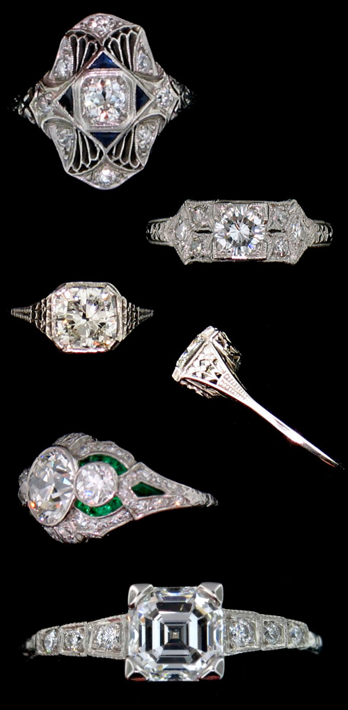 classic vintage, antique, estate diamond engagement rings