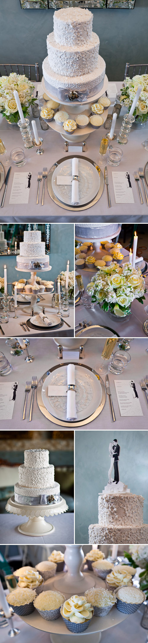 modern and chic white and silver wedding cake, cupcakes and winter wedding table top decor ideas