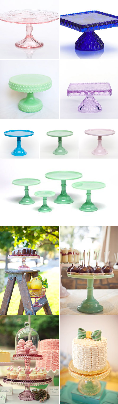 colorful wedding cake stands from Sweet and Saucy Supply Shop, vintage and milk glass cake stands via JunebugWeddings.com