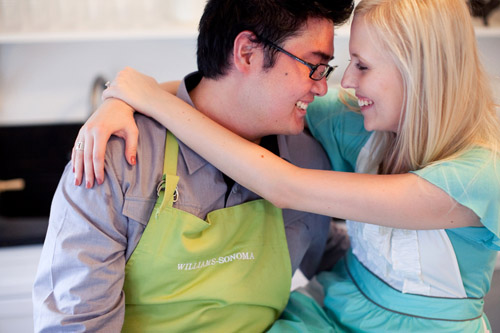 baking cookies in the kitchen engagement shoot by Melissa Jill Photography
