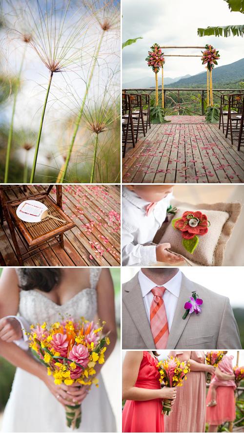 Coral, Green, Orange Costa Rica Destination Wedding | Junebug Weddings
