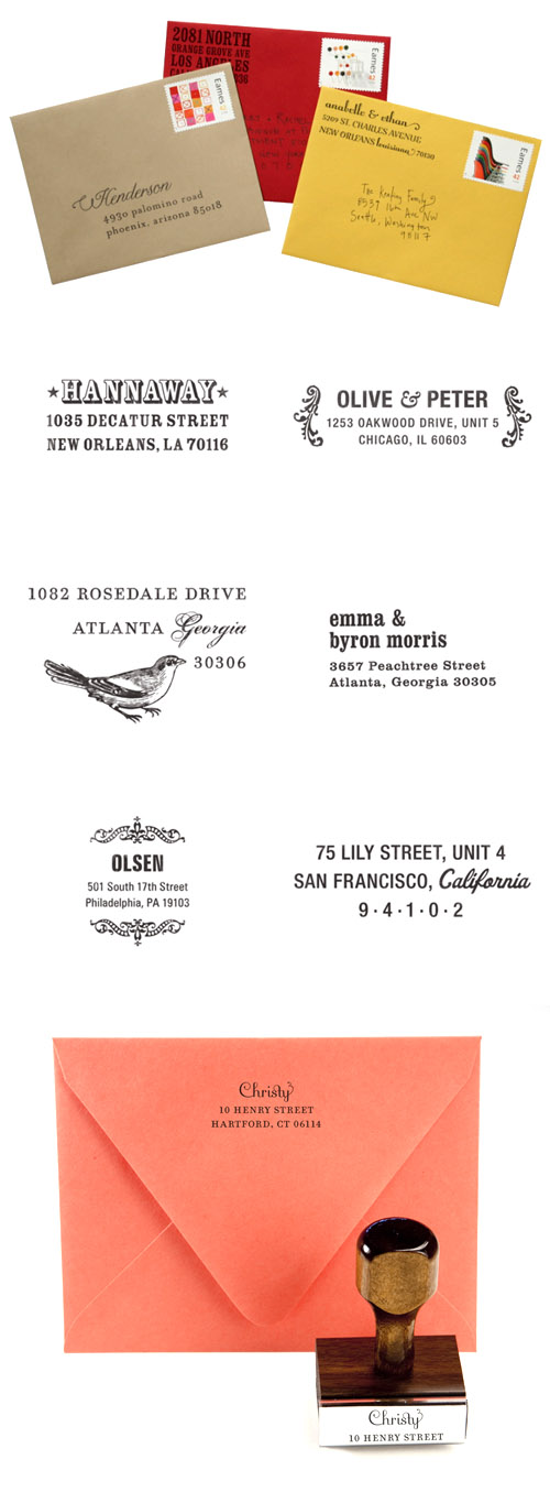 modern custom return address rubber stamps for weddings from Paperwink