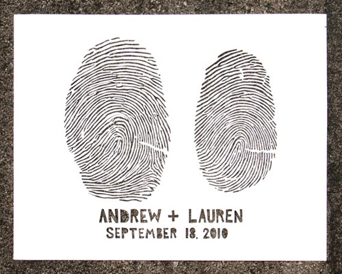 custom finger print cut paper art by Lori Danelle, hand made wedding gift