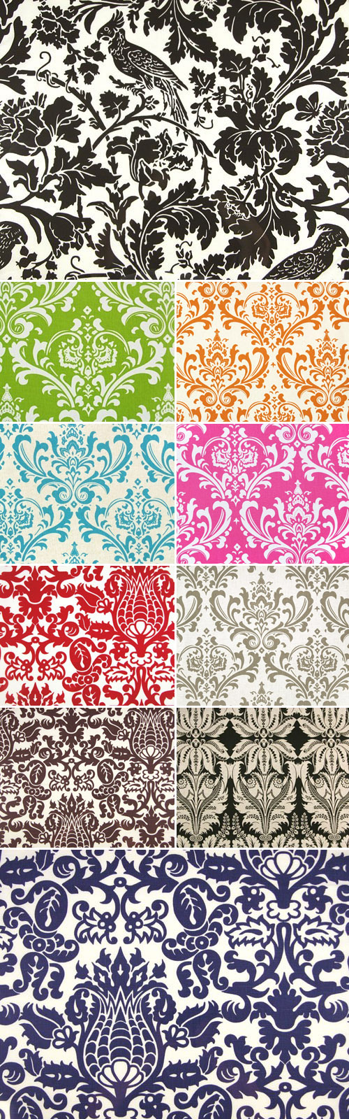 colorful damask wedding table runners from Bateson's Boutique