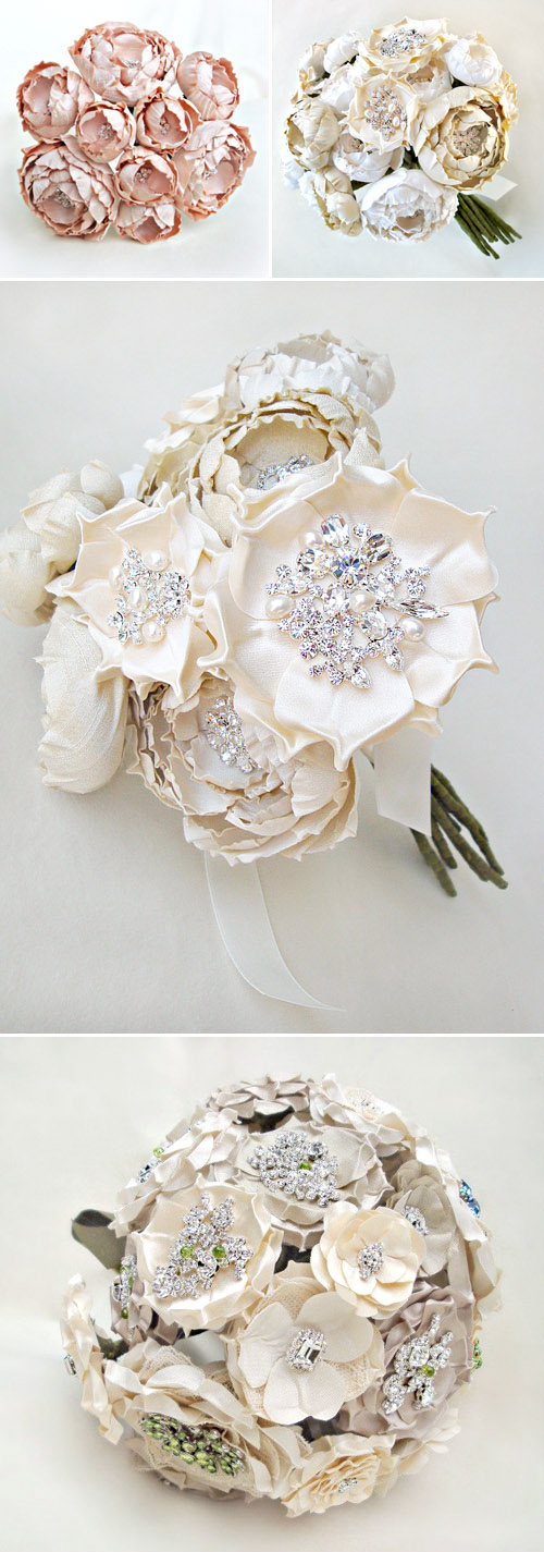 silk handmade flower bouquets and bridal accessories from Emici Bridal