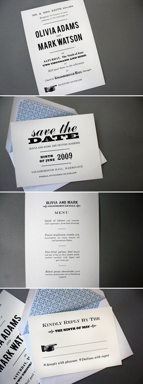 simple vintage letterpress wedding invitation design by Emma Jo, wedding stationery with vintage flair