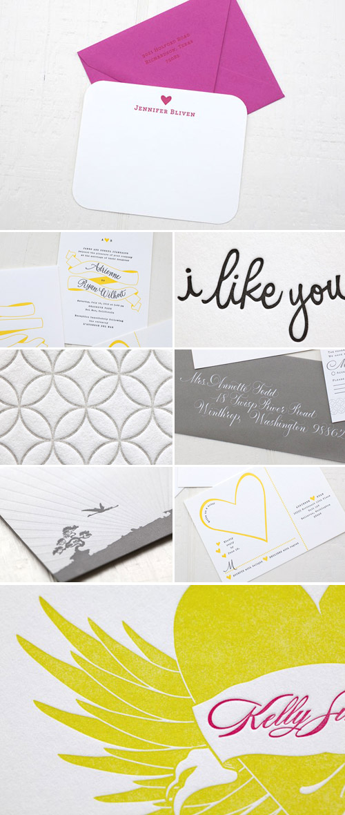 personalized letterpress wedding invitaitons, thank you notes and stationery from Ephemera