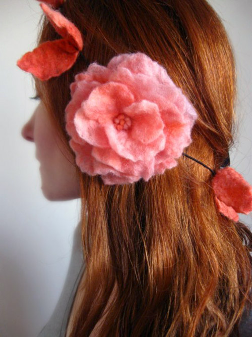 felt bridal hair accessories, red and pink felt hair flowers by Crafts2Cherish on Etsy.com