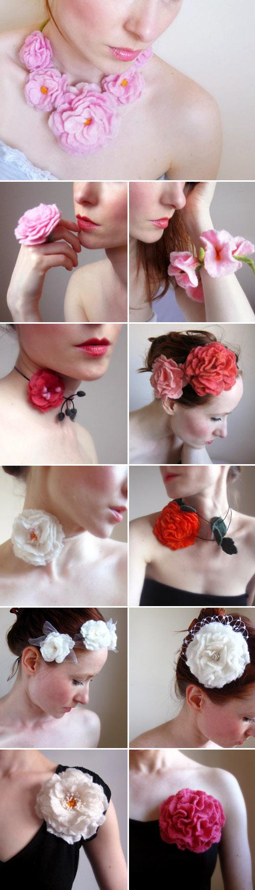 felt bridal hair accessories, flowers and jewlery by Crafts2Cherish on Etsy.com