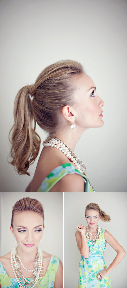 fun and fancy ponytail wedding hair from Fiore Beauty, image by Heather Kincaid Photography