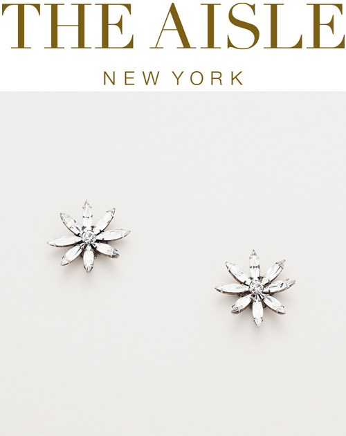 Swarovski crystal flower earrings, wedding accessories by Janis Savitt at The Aisle New York