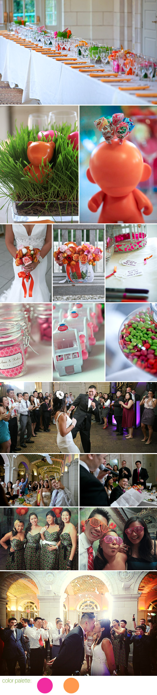 Fun and colorful Brooklyn New York real wedding - Prospect Park Audubon Center - photos by Tammy Swales Photography