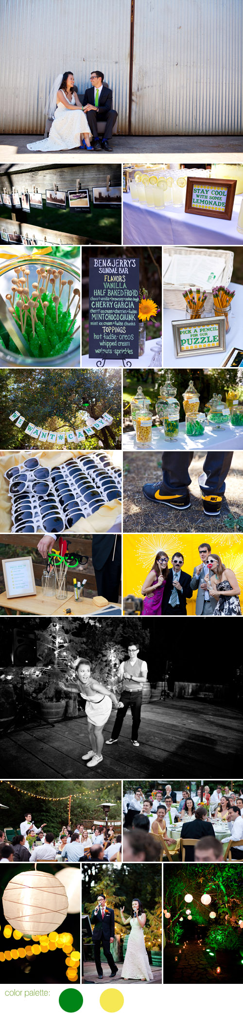playful summer green and yellow wedding style, Relais du Soleil Glen Ellen, California, photos by Noah Hawthorne Photography