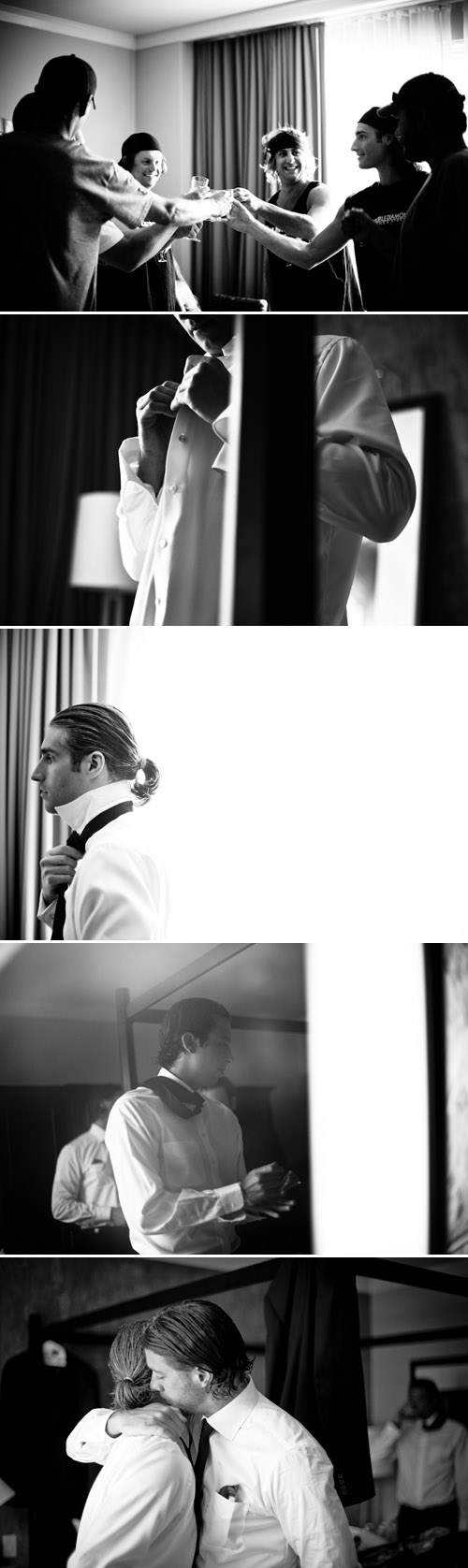 A groom and his groomsmen getting ready on the wedding day, creative Colorado wedding photos from Chowen Photography