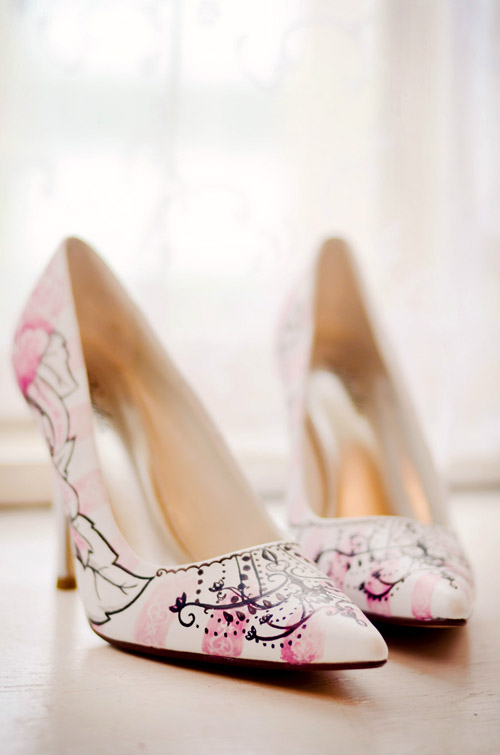 creative hand painted wedding shoes from Figgie Shoes, alternative wedding shoes