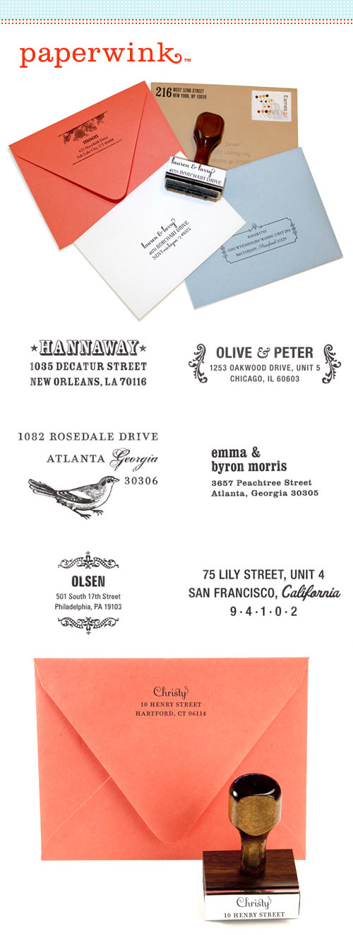 custom address or personal rubber stamps from Paperwink