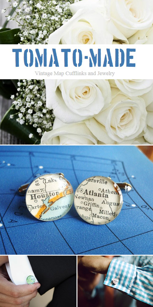 handmade custom map cuff links for grooms and groomsmen from Tomato-Made