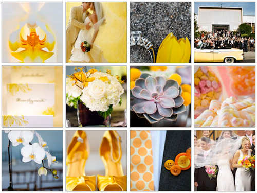 Junebug Weddings image gallery yellow wedding color palette
