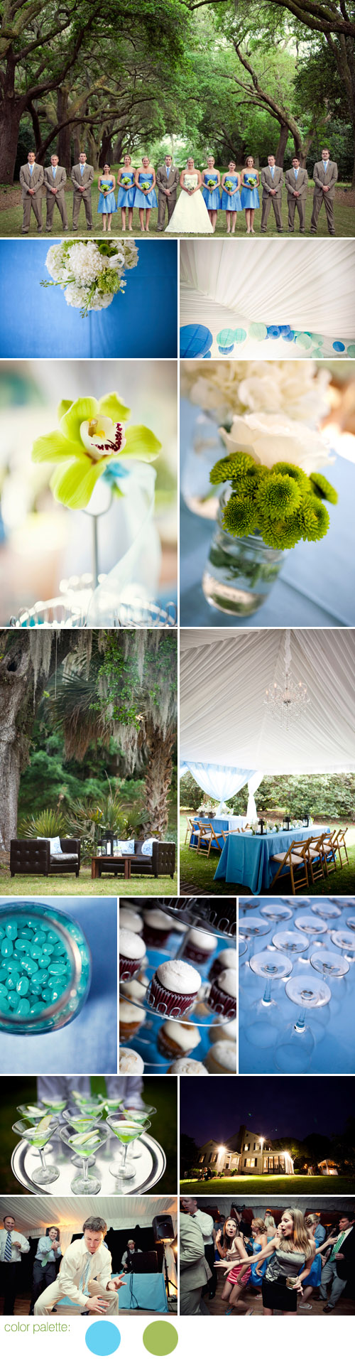Charleston, South Carolina wedding at The Legare Waring House, sky blue and green wedding color palette, photos by The Schultzes