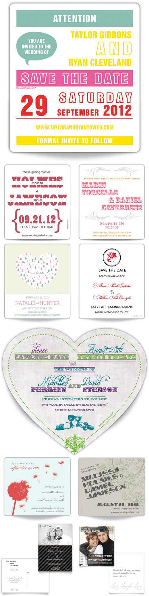 wedding save the dates by Magnet Street Weddings
