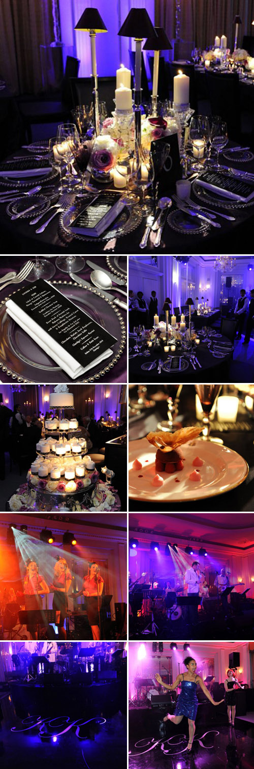Mark Niemierko purple and black art deco chic wedding at Claridge's Hotel, London, photos by Allora Visuals