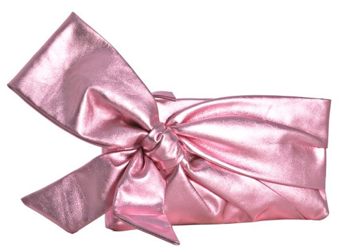pink metallic bridal bow clutch by Valentino, available at Bluefly.com