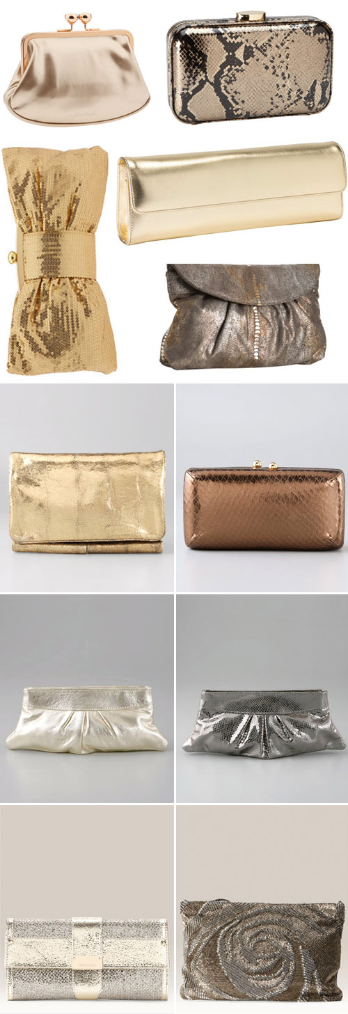 silver, gold and bronze metallic bridal clutch purses