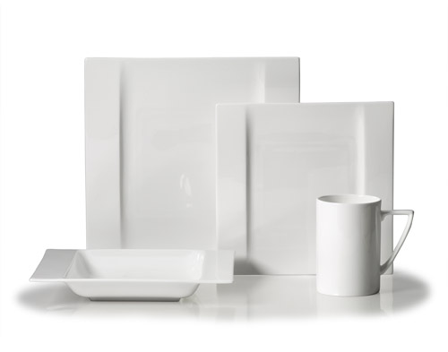 Modern White square dinnerware for your bridal registry from Mikasa
