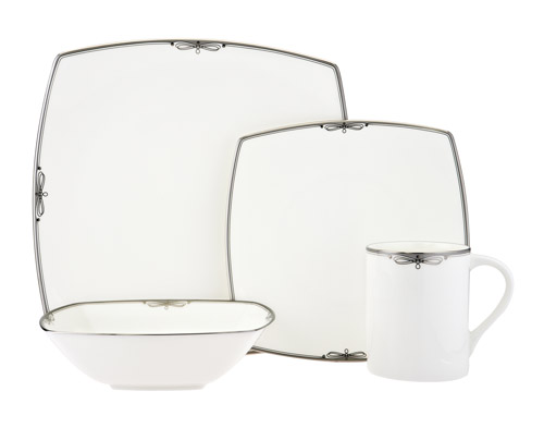 Platinum Ribbon romantic bridal dinnerware for your bridal registry from Mikasa