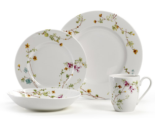Sketch Floral flower design dinnerware for your bridal registry from Mikasa  sc 1 st  Junebug Weddings : mikasa plate set - pezcame.com