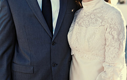an updated and modern antique wedding dress, engagement photos by Green Vintage Photography