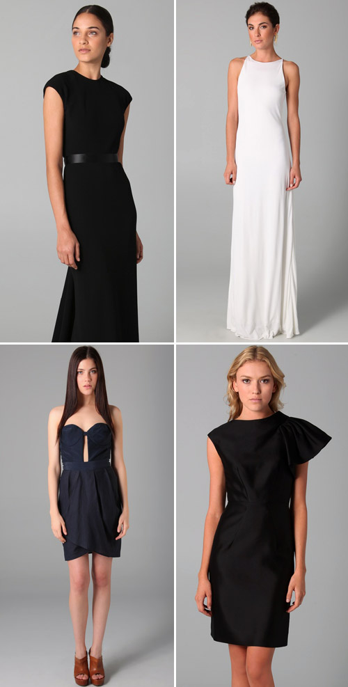 sleek, modern bridesmaids dresses for fall, jewel tone wedding fashion and cocktail dresses
