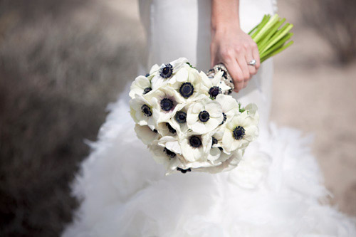 modern anemone bridal bouquet by Bella Signature Design, photo by Holly Clarke Photography